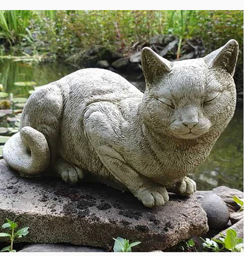 Stone Snoozing Cat Kitten Garden Ornament Statue