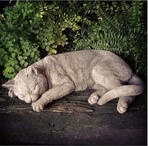 Stone Sleeping Cat Kitten Garden Ornament Statue