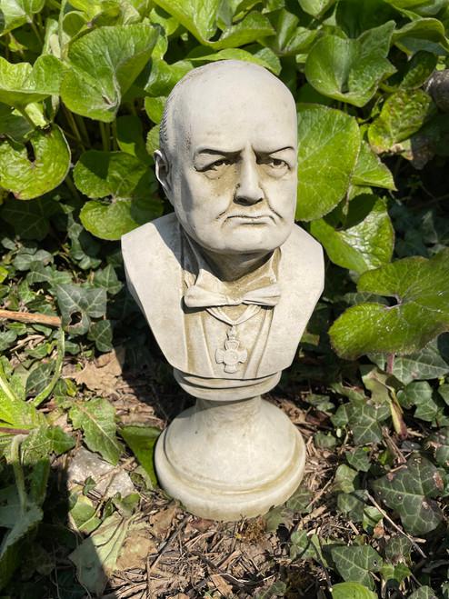 Stone Winston Churchill Bust Garden Ornament Statue