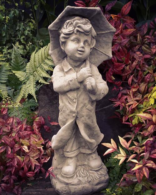 Stone Umbrella Boy Child Garden Ornament Statue