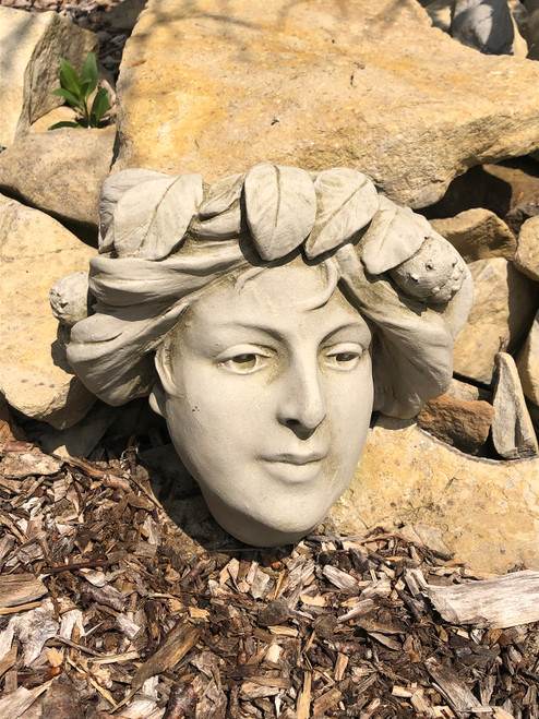 Stone Garland Girl Wall Planter Garden Ornament Statue