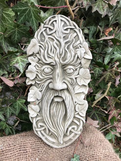 Stone Greenman Plaque Garden Ornament Statue