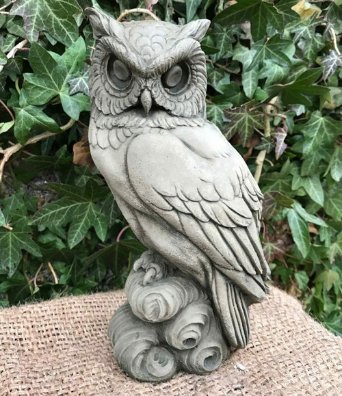 Stone Hawk Owl Garden Ornament Statue