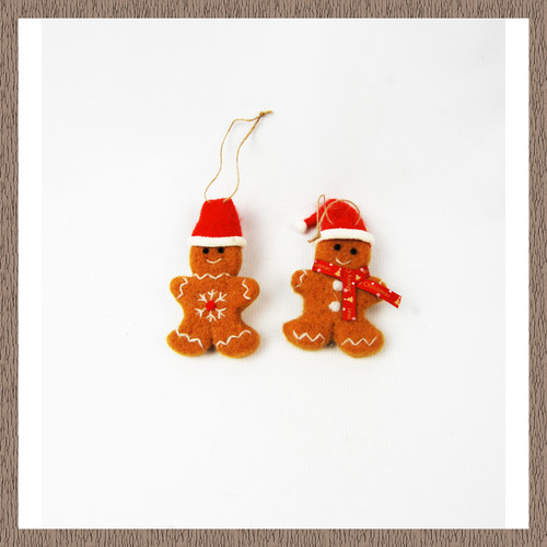 2x Hanging Gingerbread Men Christmas Decorations