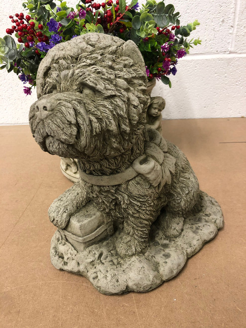 Reconstituted Stone Christmas Santa Dog Statue Garden Ornament