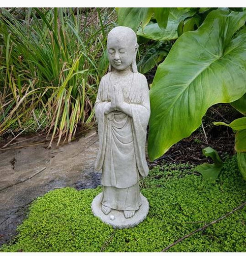 Temple Buddha Stone Statue | Monk Oriental Garden Outdoor Decoration Ornament
