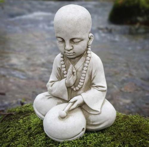 Drummer Monk Stone Statue | Buddha Oriental Garden Outdoor Decoration Ornament