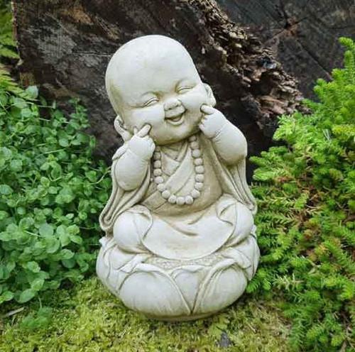 Happy Monk Stone Statue | Buddha Oriental Garden Outdoor Decoration Ornament