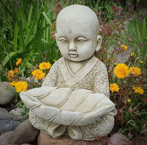 Monk w Leaf Bird Feeder Stone Statue | Buddha Oriental Garden Outdoor Ornament