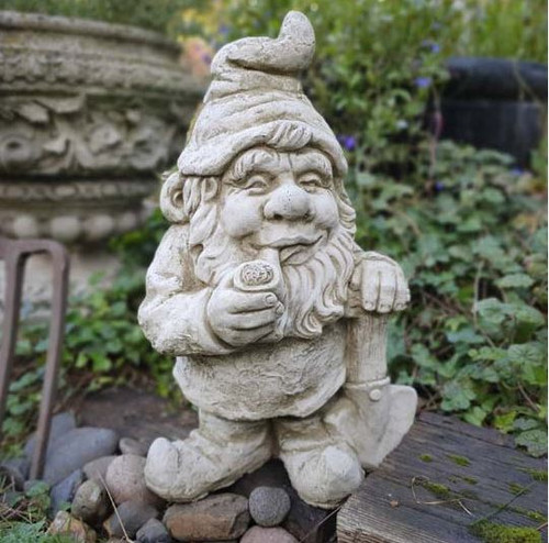 Smoking Gnome Stone Statue | Outdoor Dwarf Sprite Decoration Garden Ornament
