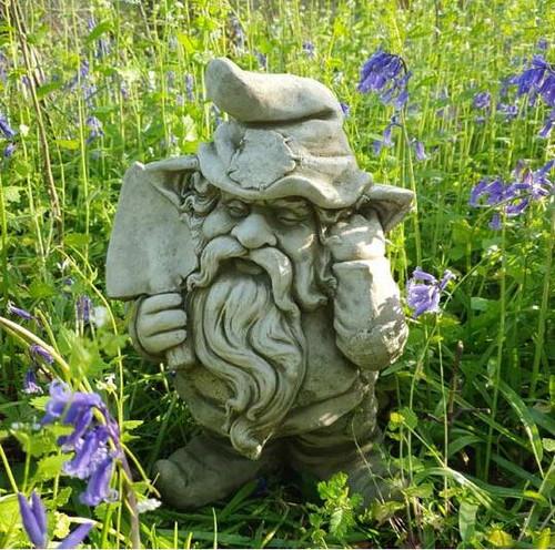 Gnome + Trowel Stone Statue | Outdoor Dwarf Sprite Decoration Garden Ornament