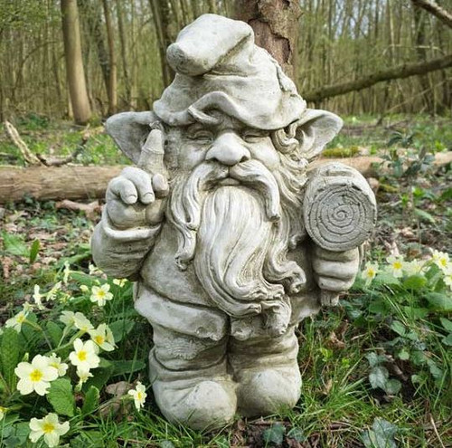 Gnome + Hammer Stone Statue | Outdoor Dwarf Country Decoration Garden Ornament