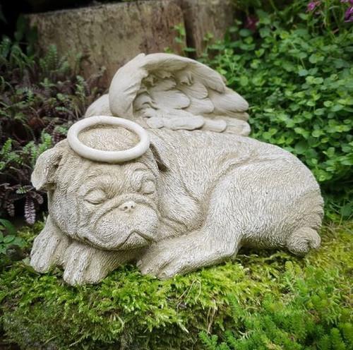 Stone Angel Dog Pug Statue Memorial Outdoor Garden Ornament Decoration