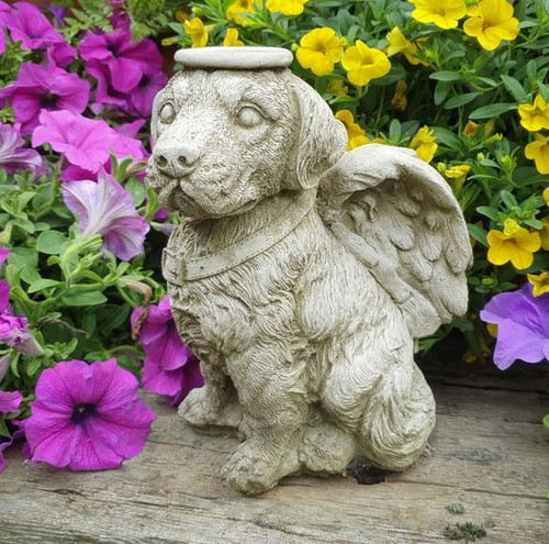 Stone Angel Dog Puppy Memorial Statue Outdoor Garden Ornament Decoration