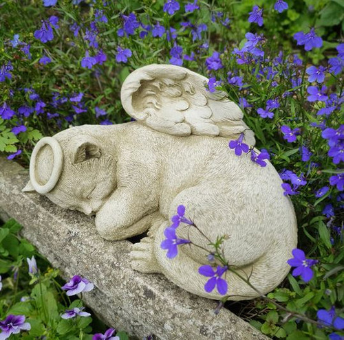 Stone Cat Kitten Memorial Statue Outdoor Garden Ornament Decoration