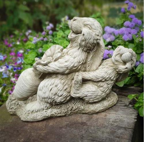 Stone Bunny Rabbit Hare Statue Outdoor Garden Ornament Decoration