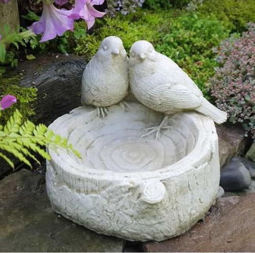 Stone Birds on Log Bath Feeder Outdoor Garden Ornament Decoration