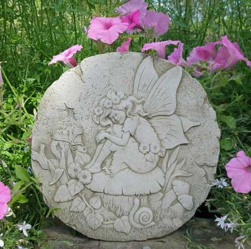 Stone Fairy Plaque Outdoor Garden Ornament Hanging Plaque