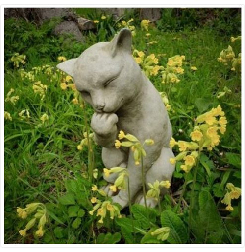 Stone Cat Kitten Outdoor Garden Ornament Decoration