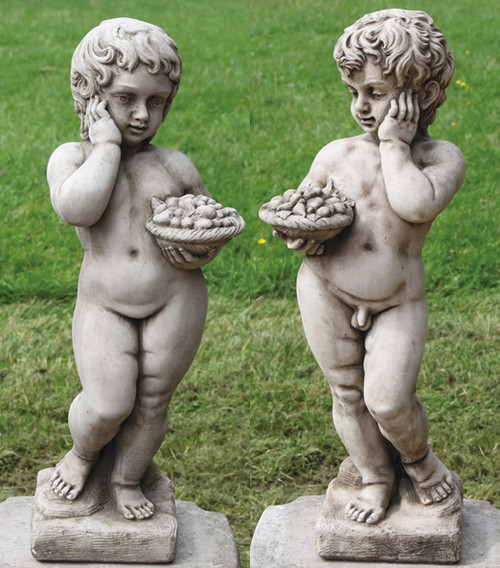 Reconstituted Stone Outdoor Garden Statue Ornament Decoration Pair Cherubs Angels