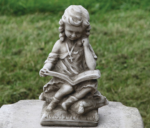 Reconstituted Stone Outdoor Garden Statue Ornament Decoration Girl Reading