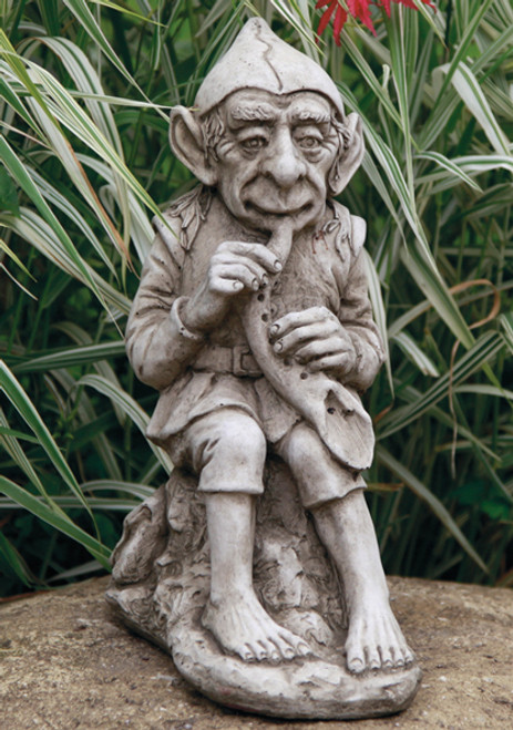 Reconstituted Stone Outdoor Garden Statue Ornament Decoration Musical Gnome Man