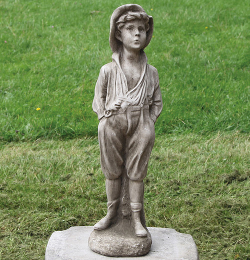 Reconstituted Stone Outdoor Garden Statue Ornament Decoration Whistling Boy Child