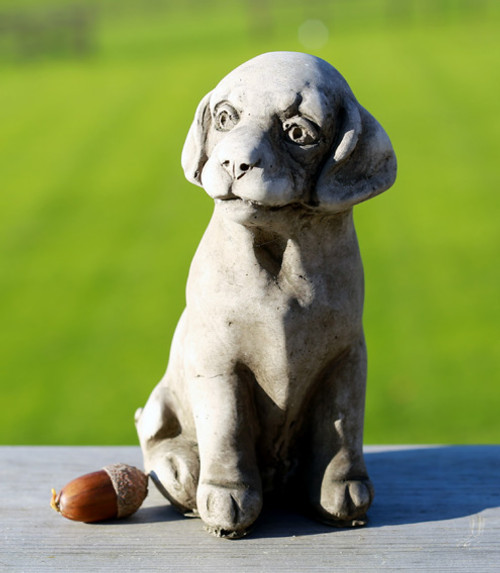 Reconstituted Stone Concrete Statue Outdoor Garden Ornament Sitting Puppy Dog