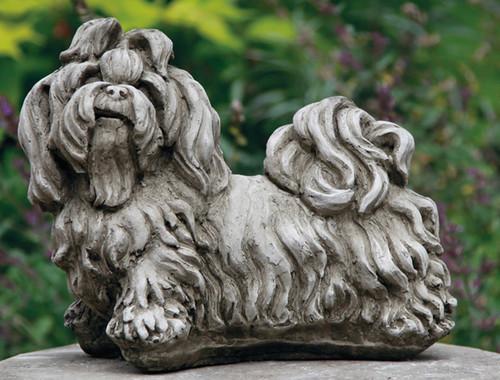 Reconstituted Stone Concrete Statue Outdoor Garden Ornament Shih Tzu Puppy Dog