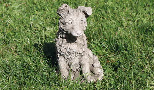 Reconstituted Stone Concrete Statue Outdoor Garden Ornament Sheltie Puppy Dog