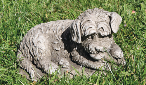 Reconstituted Stone Concrete Statue Outdoor Garden Ornament Mongrel Puppy Dog