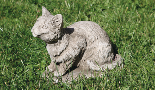 Reconstituted Stone Concrete Statue Outdoor Garden Ornament Kitten Cat