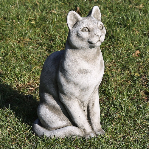 Reconstituted Stone Concrete Statue Outdoor Garden Ornament Sitting Cat Kitten