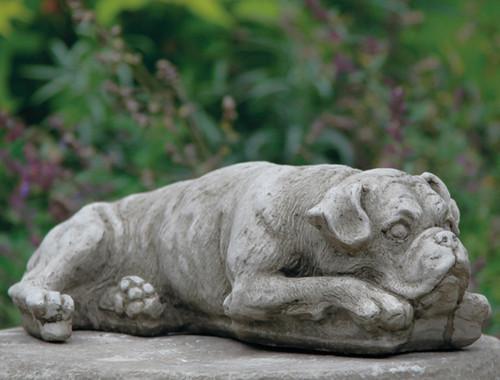 Reconstituted Stone Garden Statue Outdoor Ornament Boxer Dog Puppy