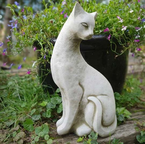 Reconstituted Stone Garden Statue Outdoor Ornament Siamese Cat Kitten
