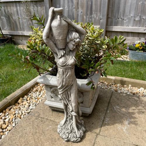 Lady With Wine Jug Stone Garden Statue