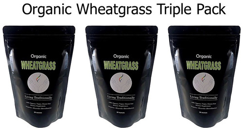 Organic Wheatgrass Powder Triple Pack: Vitamins, Minerals, Chlorophyll, Alkalizine, and Live Enzymes!