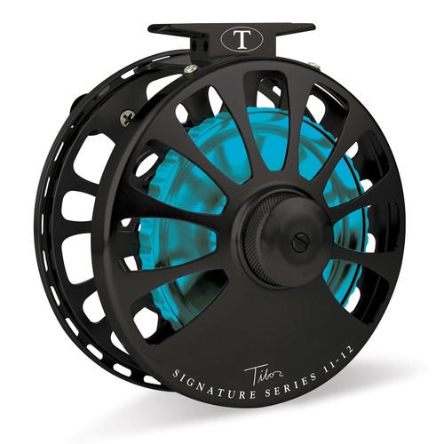 Signature Series 11-12wt Frost Black Reel with Aqua Hub32986