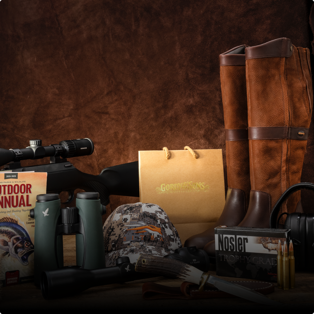 table of hunting accessories