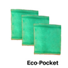 3 Pack of Eco-Pockets - The Eco-Pocket is the Green Screen in a different format for those that need a little flexible filter for installation.  They need to have 1 Innerwire that is reusable for each of your Eco-Pocket filters to install. The Eco-Pocket has 4 zones with 2 layers of Tackifier.  It is like a pillow case that is open in the center. The Anti-Microbial inhibits mold mildew and fungus from growing and recirculating.