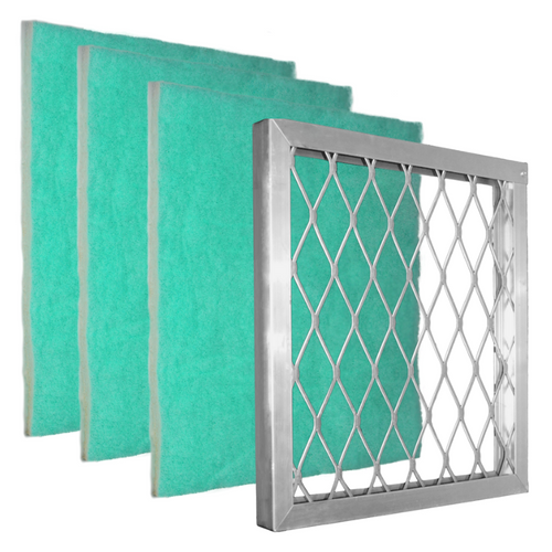 Starter Pack: Green Screen Air Filter,  is an all-in-one bundle. Which includes one Aluminum Frame and three Green Screen air filters. The air filters are pre-cut to size. The design of the Green Screen has 3 zones to trap particles by size which gives a higher dust-loading capacity, and still has optimum air flow for the HVAC system. The Anti-Microbial and Tackifier add the unique benefits of true allergy and dust help over pleated filters.  MERV 10