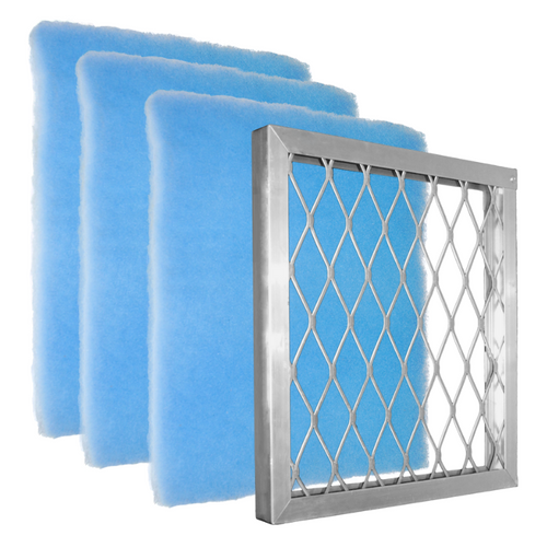 Starter Pack Blue Screen is an all in one bundle with Aluminum Frame and 3 Blue Screen air filters. Most affordable! The design of the Blue Screen has 2 zones which gives a higher dust-loading capacity than pleated with the Best Air Flow for the HVAC system. It does not have the anti-microbial and tackifier for allergies as the Green and Orange Screens. Often used for Commercial, Restaurant, Retail locations.  The air filters are pre-cut to size.    Comparable to MERV 7