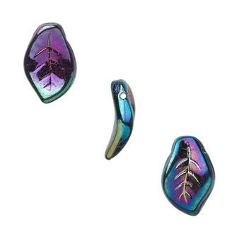 14x9mm - Czech - Iris Purple - Strand (approx 60 beads) - Pressed Glass Top Drilled Leaf