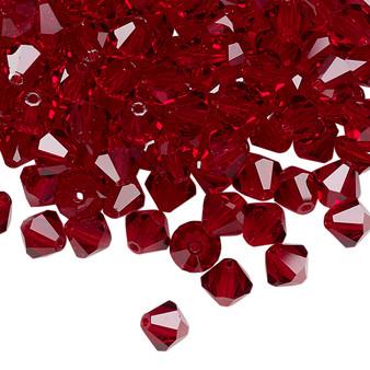 6mm - Preciosa Czech - Siam - 24pk - Faceted Bicone Crystal