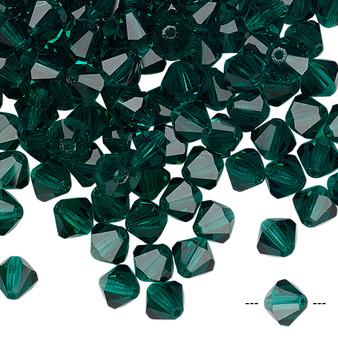 6mm - Preciosa Czech - Emerald - 24pk - Faceted Bicone Crystal