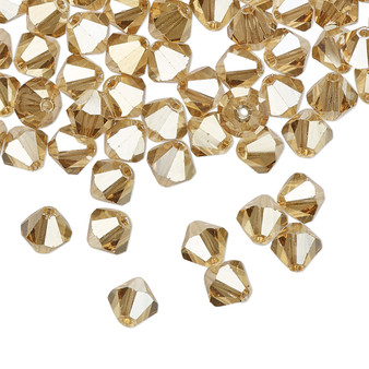 6mm - Preciosa Czech - Crystal Golden Flare - 24pk - Faceted Bicone Crystal