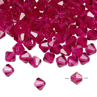 6mm - Preciosa Czech - Fuschia - 24pk - Faceted Bicone Crystal