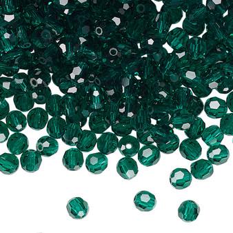 4mm - Preciosa Czech - Emerald - 24pk - Faceted Round Crystal