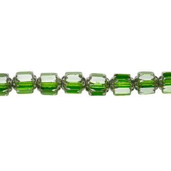 "6mm - Preciosa Czech - Emerald Green & Metallic Green - 15.5"" Strand (Approx 65 beads) - Round Cathedral Glass Beads"