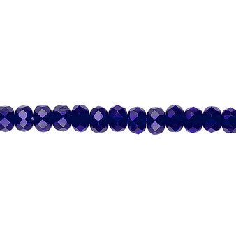 """5x4mm - Preciosa Czech - Cobalt - 15.5"""" Strand - Faceted Rondelle Fire Polished Glass Beads"""